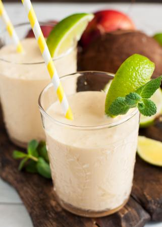 Slushymet rum, banaan en kokosnoot