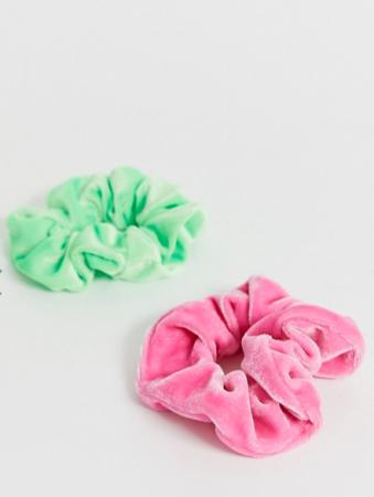 Set van twee scrunchies (groen en roze)
