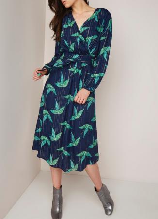 Marineblauwe midi-jurk met groene bloemenprint en lurex