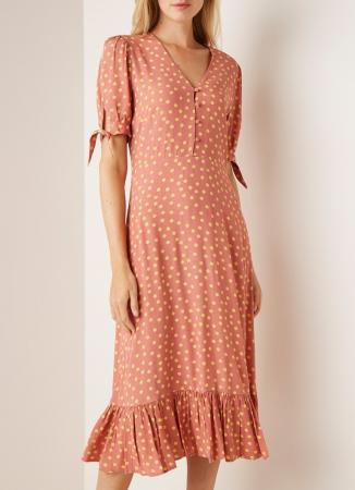 Oudroze midi-jurk met stippen