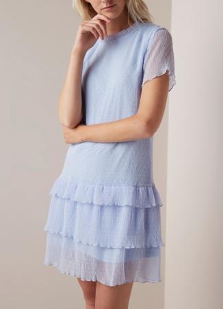 Babyblauwe mini-jurk in crêpe met stippen
