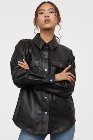 Oversized jas van imitatieleer