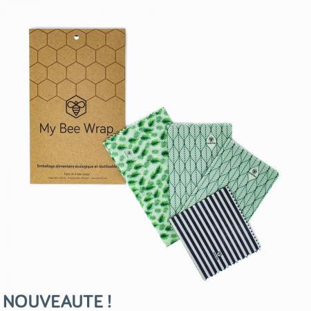 Bee's Wrap lot de 4 Emballages Alimentaires Réutilisables