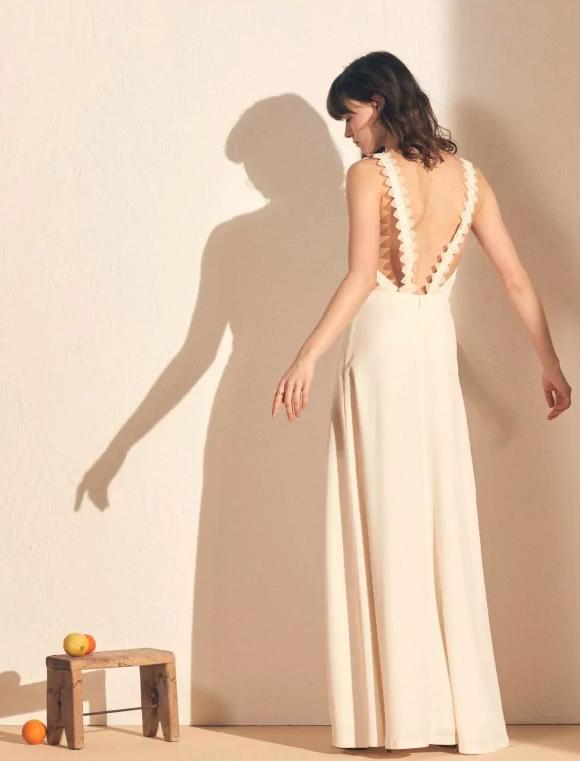 Maxi-jurk met V-hals in crêpe