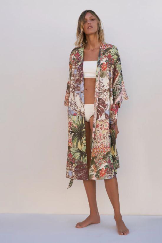 Kimono met tropisch print