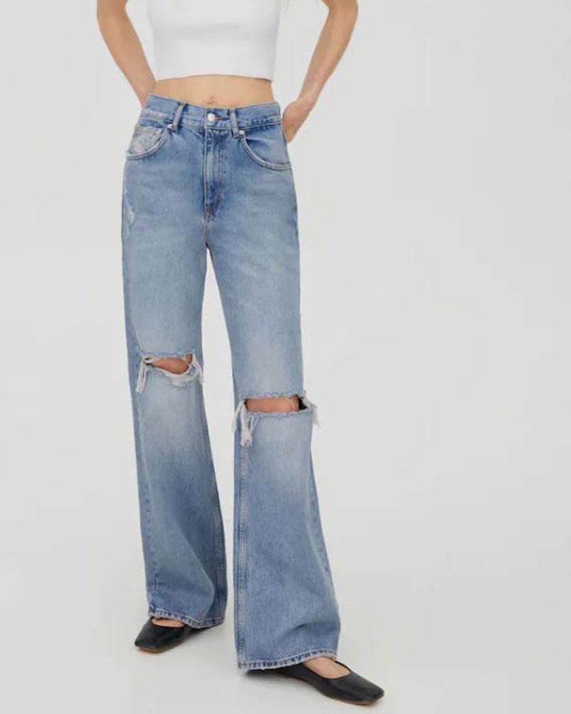 Jeans met wijde pijpen