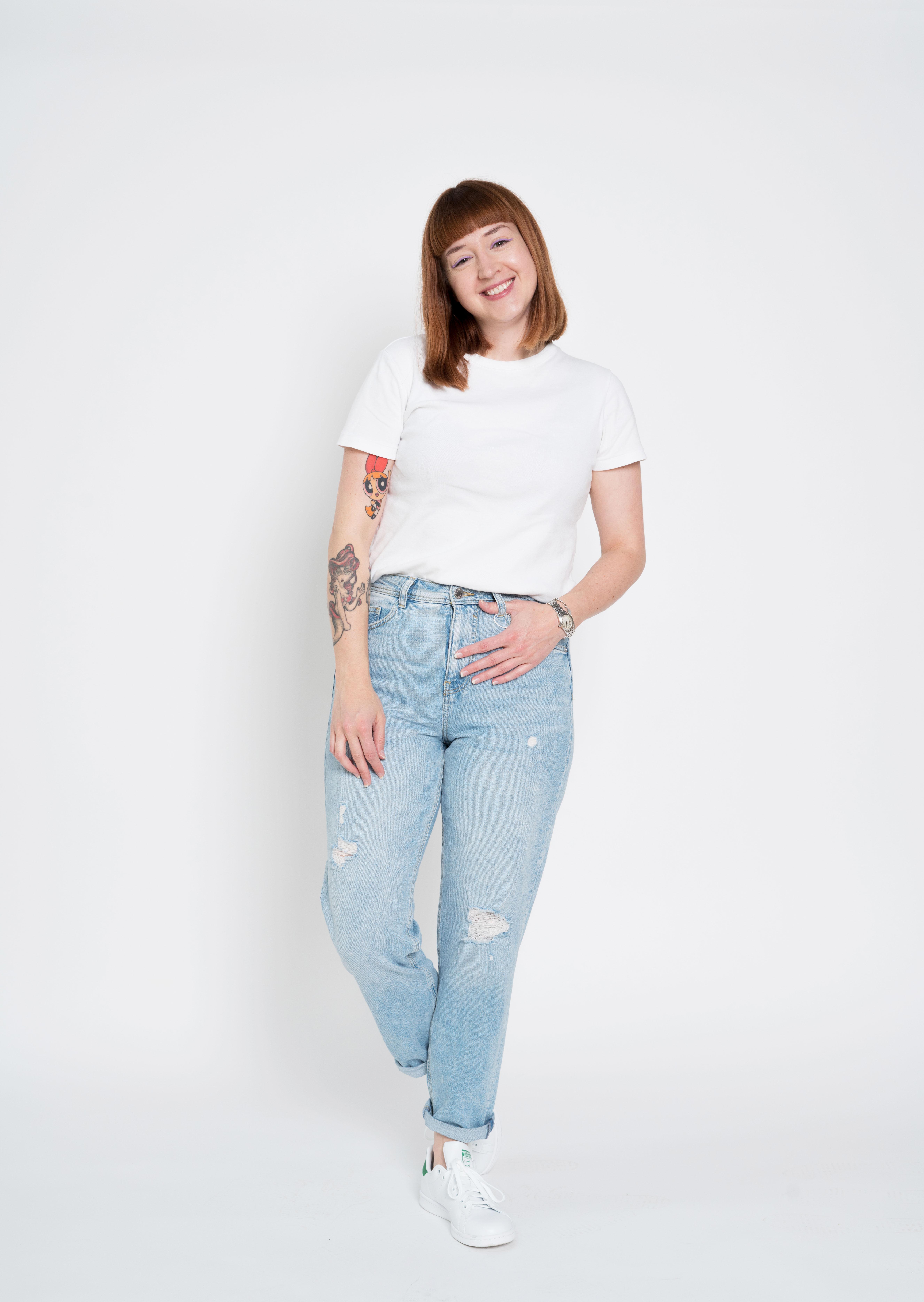 Lichte mom jeans met scheuren