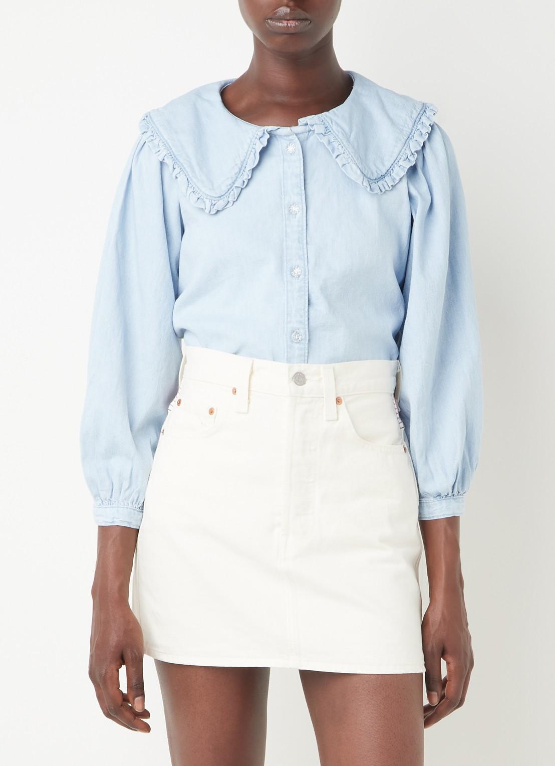 Denim blouse met rushes