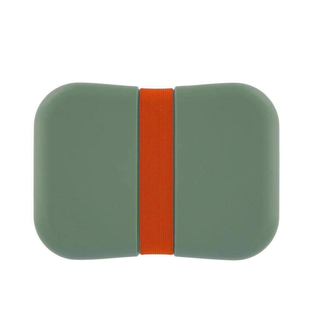 Groene lunchbox met rode elastiek en verplaatsbaar tussenschotje