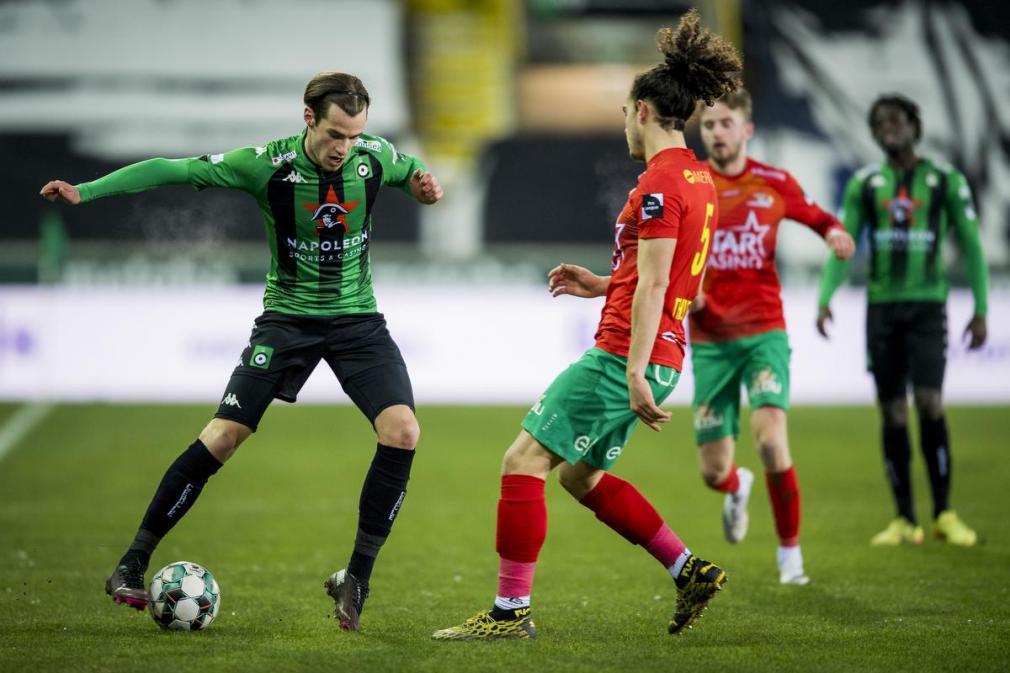 Olivier Deman lag met zijn doelpunt tegen KV Oostende in de beker aan de basis van de kwalificatie voor de volgende ronde. (foto Belga)© BELGA