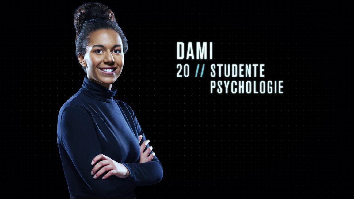 """Dami (20) - studente psychologie: """"Ik zou een goede Mol zijn omdat ik mensen snel doorzie. Ik kan binnen een groep ook gemakkelijk een geheim bewaren."""""""