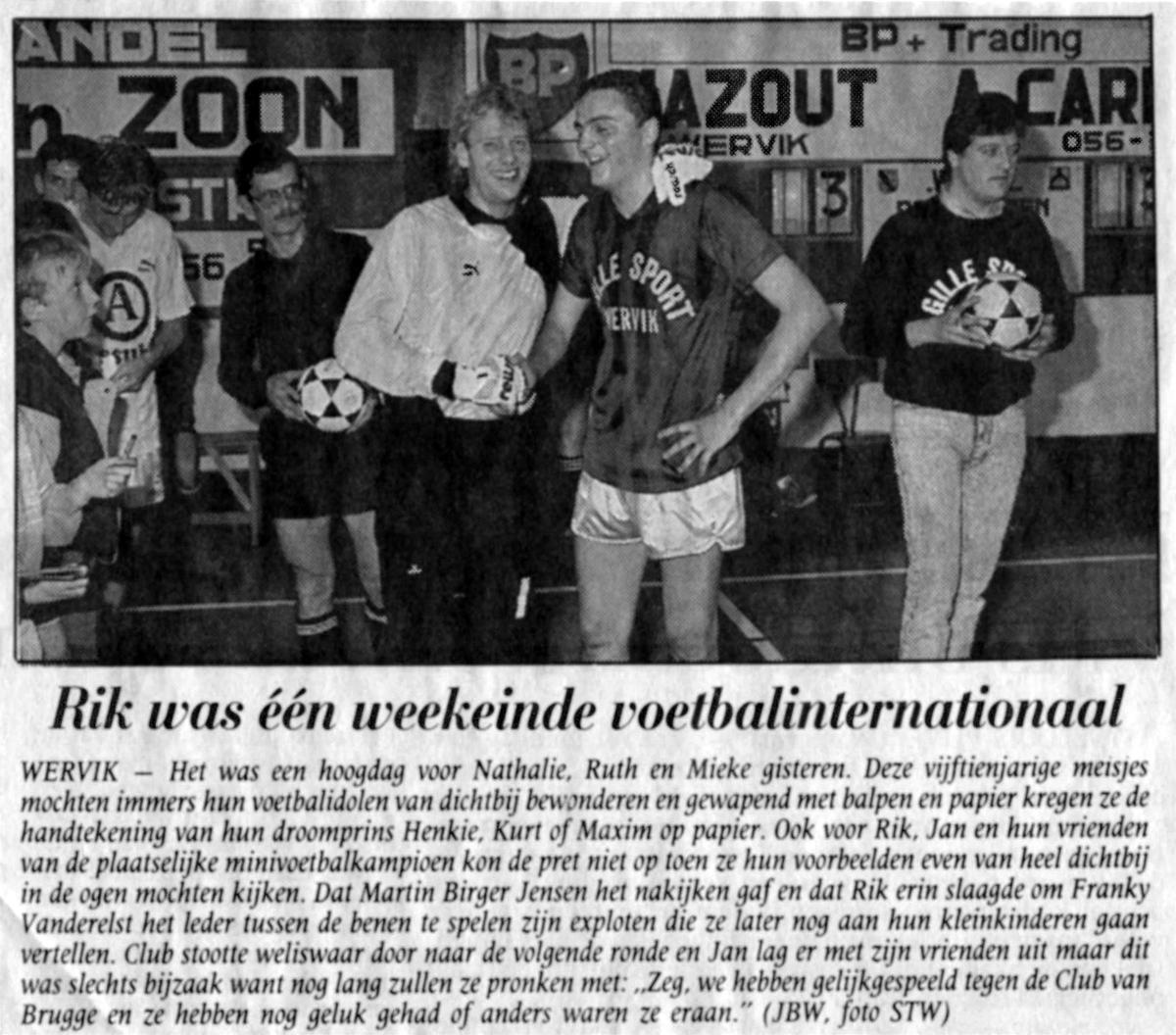 Verslag van de legendarische match waarbij Rik Masil Franky Van der Elst door de benen speelde.