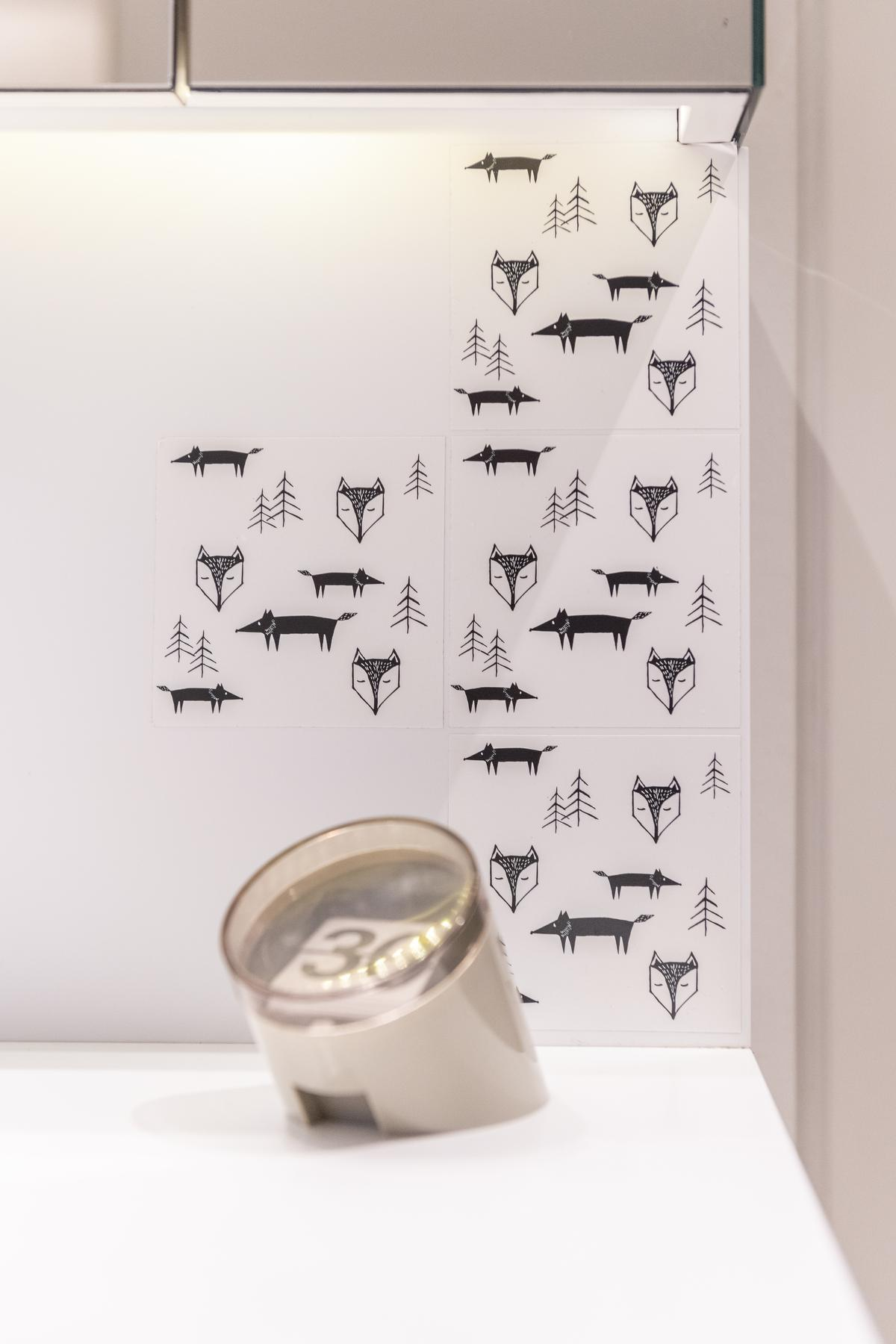 In de badkamer kwamen speelse tegeltjes met vosjes.© Pieter Clicteur