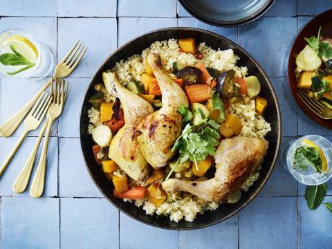 Marokkaanse recepten - vrijdagse couscous met groenten en kip