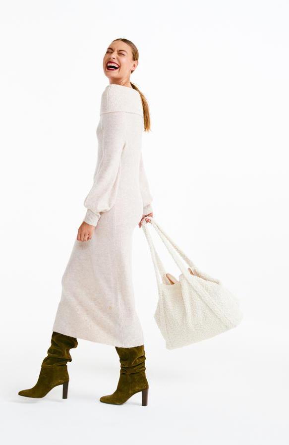 Lange jurk van zachte tricot