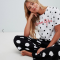 Zwart-witte pyjama met polkadots