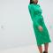 Felgroene midi-jurk met lange mouwen