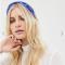Kobaltblauwe haarband met geborduurde manen en sterren