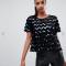 Zwart T-shirt met pailletten in zigzagmotief
