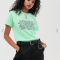 Muntgroen T-shirt met tekst