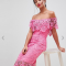 Roze off-the-shoulder-jurk in kant