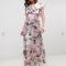 Crèmekleurige maxi-jurk met V-hals en kanten details