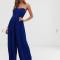 Kobaltblauwe jumpsuit met bustier en geplisseerde pijpen