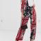 Blauw-rode broek met witte bloemenprint
