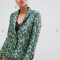 Groen-blauwe blazer met bloemenprint in jacquard