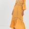 Mosterdgele maxi-jurk met borduursels
