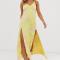 Beige slip dress met gele palmprint in jacquard