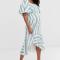Gestreepte midi-jurk met asymmetrische peplumrok