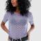 Lila T-shirt met korte mouwen en zwarte polkadots