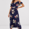 Marineblauwe midi-jurk met bloemenprint