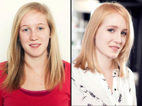 voor en na relooking kapsel make-up