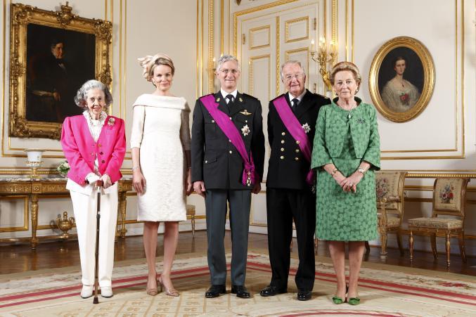 La reine Fabiola, la reine Mathilde, le roi Philippe, le roi Albert II et la reine Paola