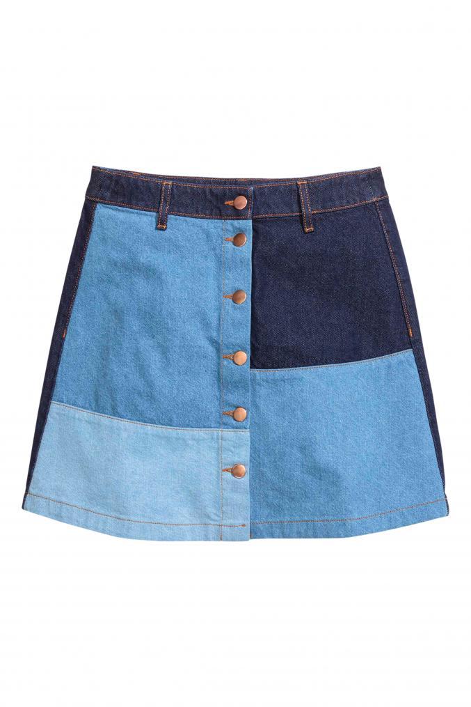 Jupe trapèze patchwork, 29,99 €, H&M.