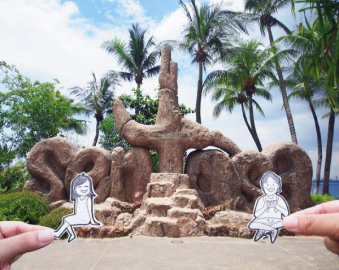 En vacances sur île de Sentosa à Singapour