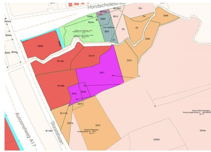 De gronden in fuchsia zijn een onmiddelijke uitbreiding van het provinciedomein.© GF