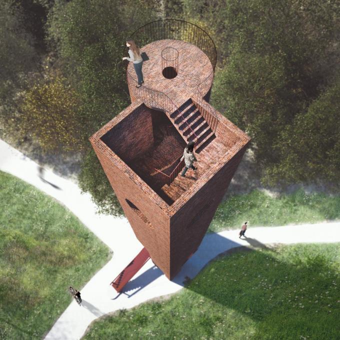 De uitkijktoren van het Bergmolenbos zal volgens schepen Dirk Lievens een toeristiche hotspot worden.