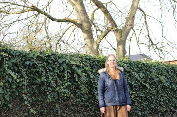 Sofie Sanders toont de notenboom waaraan een eekhoorntjesbrug kan worden vastgemaakt.©Laurette Ingelbrecht.
