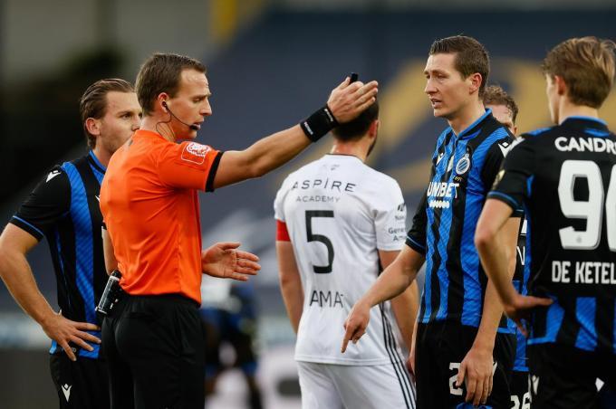 Hans Vanaken kreeg een rode kaart tijdens de match tussen Club Brugge KV and KAS Eupen.©BRUNO FAHY BELGA