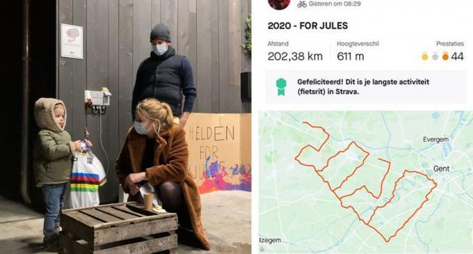 Met een fietstocht van 202,0 kilometer willen enkele vrienden de moedige Jules en zijn ouders een hart onder de riem steken. (foto AV)