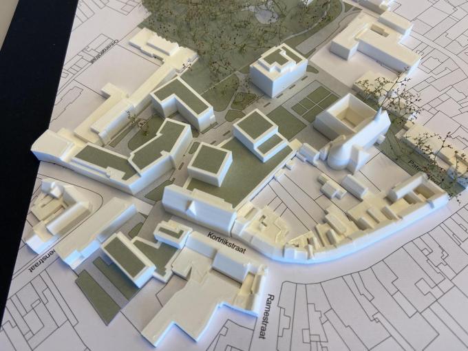 Deze maquette geeft een beeld van hoe het project er tegen eind 2023 moet gaan uitzien.© gf