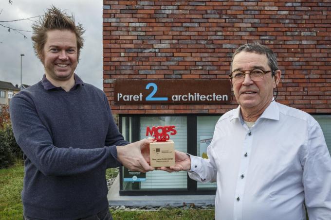Een MOP-award voor architecten Thomas en Johan Paret. (foto JS)©jan_stragier;Jan Stragier Jan Stragier