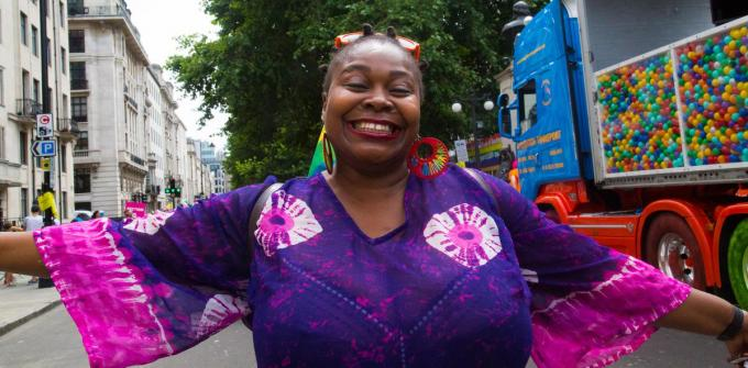Ook deze vrouw in Londen viert de World Fetish Day in gepaste klederdracht. (foto Getty Images)©Barcroft Media Barcroft Media via Getty Images