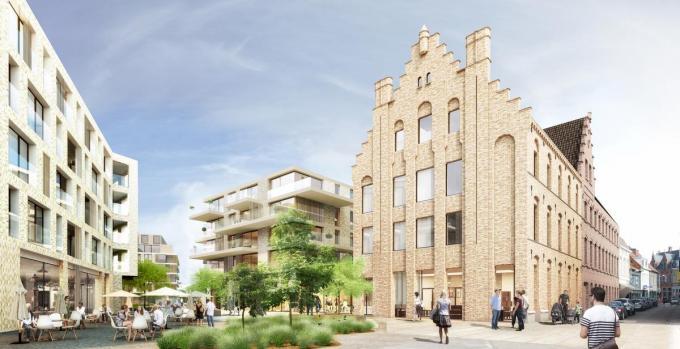 Een beeld van de toekomstige Collegesite, zijde Kortrijkstraat.© WME