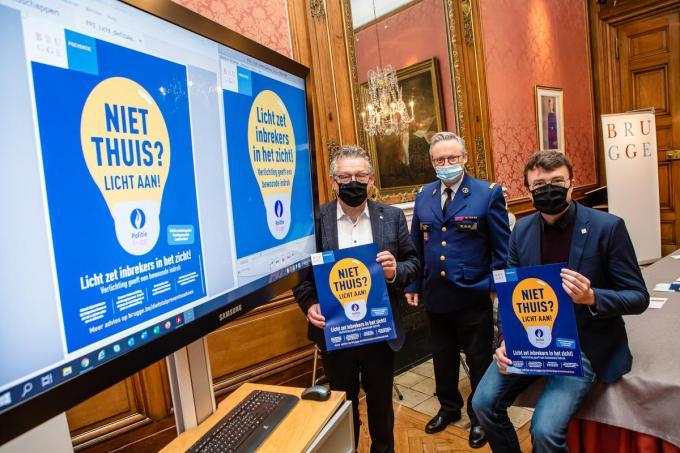 Dirk De fauw, Dirk Van Nuffel en Matthijs Goderis stellen de preventiecampagne voor.© DC