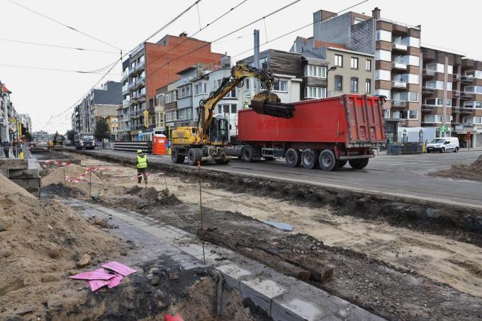 De werken aan de tramsporen in Oostduinkerke-Bad.©Myriam Van den Putte Myriam Van den Putte