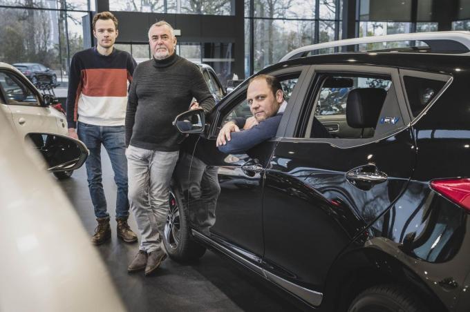 Kevin Carrebrouck, Geert Vanneste en Pieter Voet van Edrive. (foto Olaf Verhaeghe)